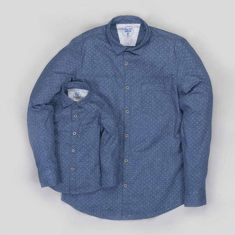 Father/Son Navy Blue Printed Denim shirt with metal button