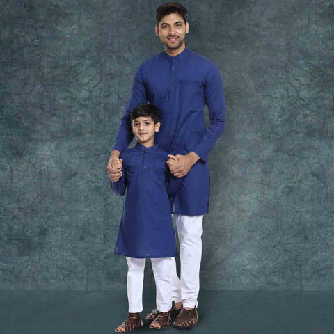 Blue kurta with White pyjama set for Father-Son