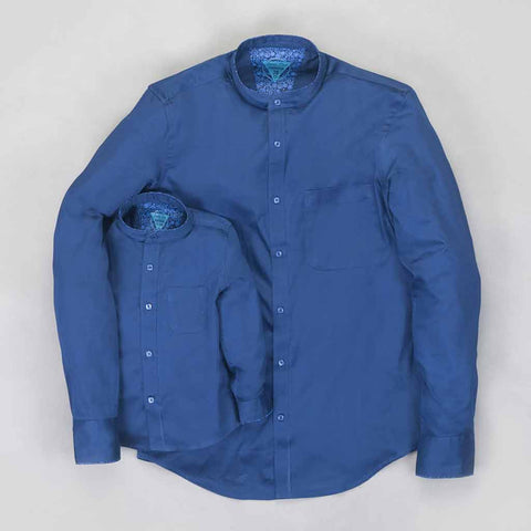Blue Cotton Satin Mandarin collar Shirt For Father/Son