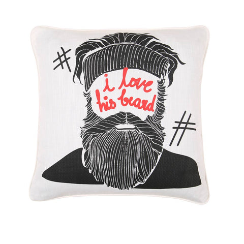 "I Love His Beard, Pillow Cushion Cover Set of 2(16"" X 16"")"
