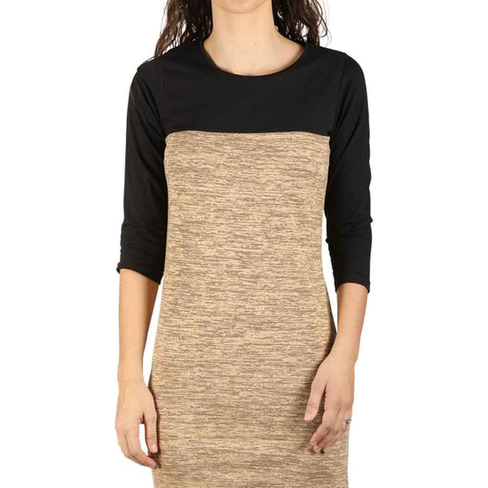 Pastel Brown Yoke Knitted Dress For Women