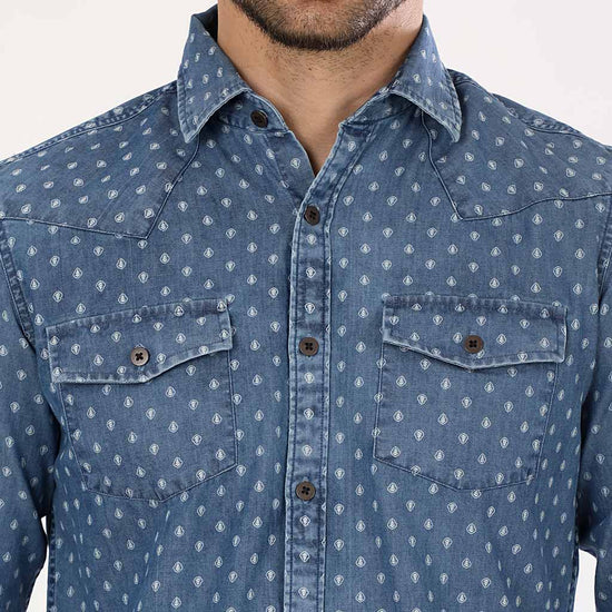 Printed Washed Denim Full Sleeves Matching Shirts For Father And Son