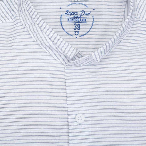 Father Son White striped mandarin collar shirt