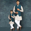 Bottle Green Overlap bandi with beige kurta pyjama set for Father-Son