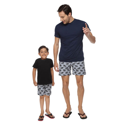 Concrete Mixer Dad and Son Black Printed Boxers