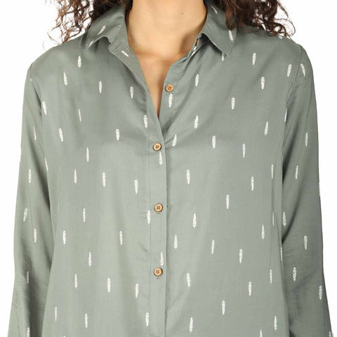 Green Feather Print Relaxed Fit Shirt Dress
