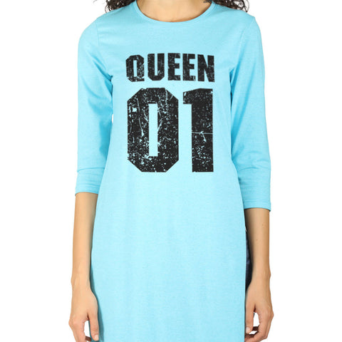 Queen Aqua blue high slit long knitted top for mom daughter dresses
