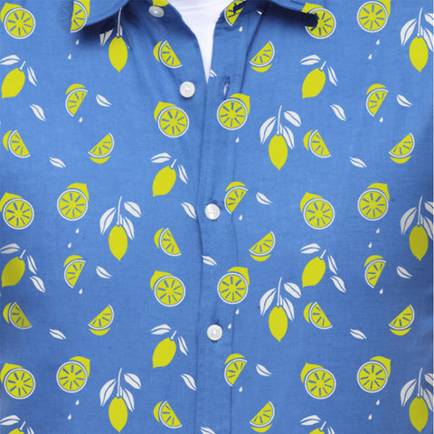 Lemon print linen dad and son shirt