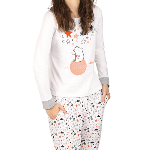 Stars And Cloud Print Nightwear Set For Mom & Daughter
