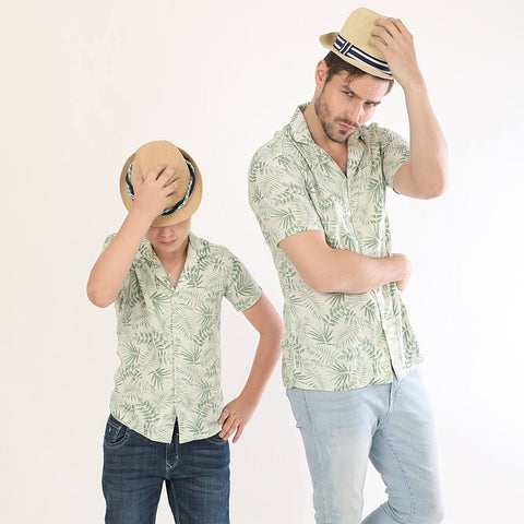 Palm Leaves Print Half Sleeves Matching Shirts For Dad And Son