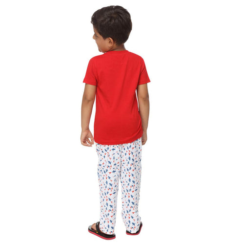 Red and Blue Abstract Pattern Dad and Son Pyjamas