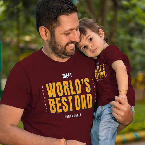 World's Best Dad/Son Maroon, Matching Dad & Son Tees