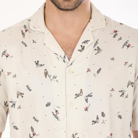 Flower And Bird Print, Half Sleeves Matching Shirts For Dad And Son