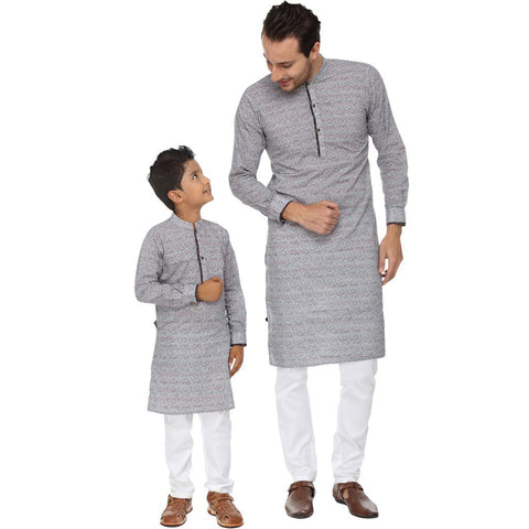 Floral print contrast placket kurta with white pyjama set for father-son