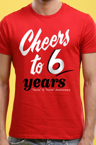 Cheers To Six, Matching Customisable Couples Tees