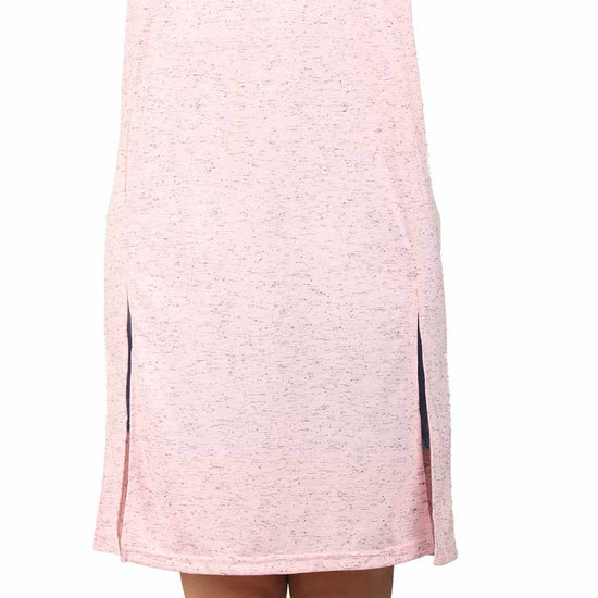Pink front slit long knitted top for mom daughter