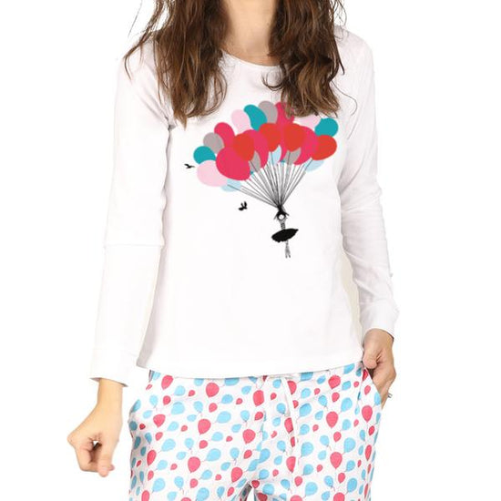 Balloon Print Knitted Nightwear For Girl
