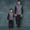 Grey Printed piping detail Bandi with Black kurta pyjama set for Father-Son