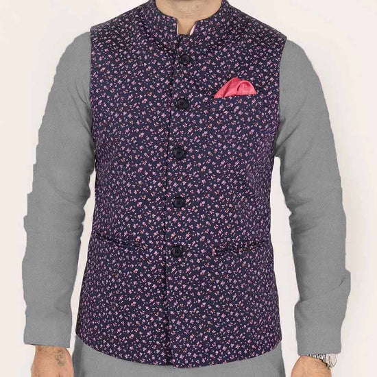 Floral Print Dark Purple Bandi With Light Grey Kurta/White Pyjama Set for Father and Son