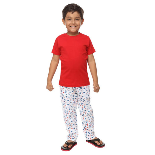 Red and Blue Abstract Pattern Dad and Son Pyjamas For Son