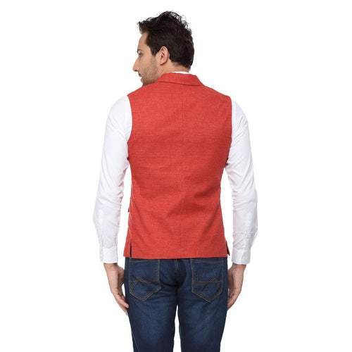 Coral notch lapel waist coat with white cotton satin shirt set for father-son