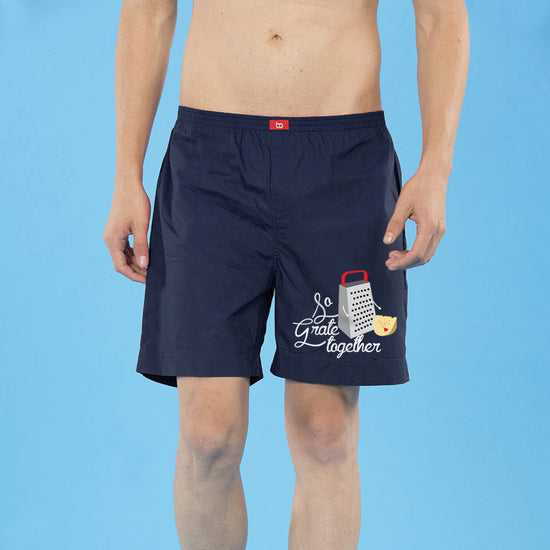 So Grate Together Matching Navy Blue Couple Boxers