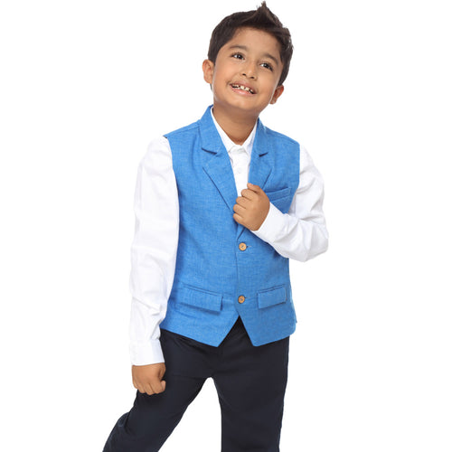 Aqua Blue notch lapel waist coat with white cotton satin shirt set for father-son