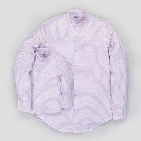 Purple/Beige stripes white Mandarin Collar Shirt for father son