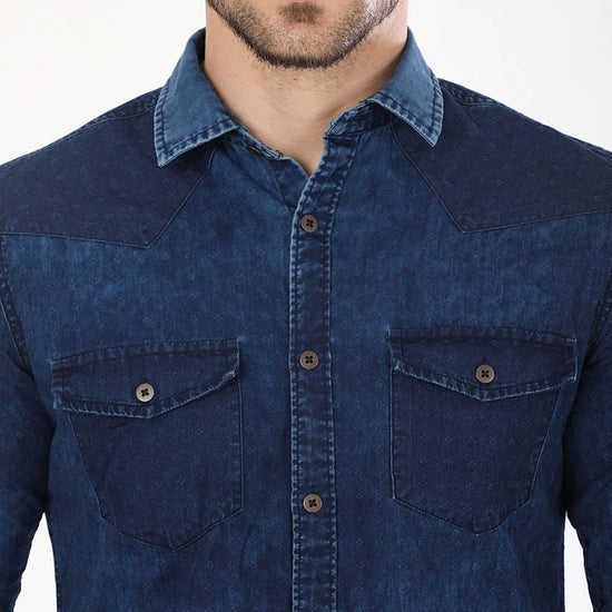 Indigo Washed Denim Matching Shirts For Dad And Son