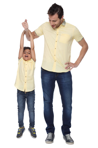 Floral Print Penny Collar Yellow Half Sleeve Shirt For Father-Son