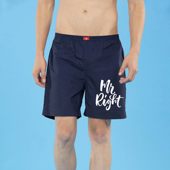 Mr. & Mrs. Right Perfectly Matching Navy Blue Couple Boxers