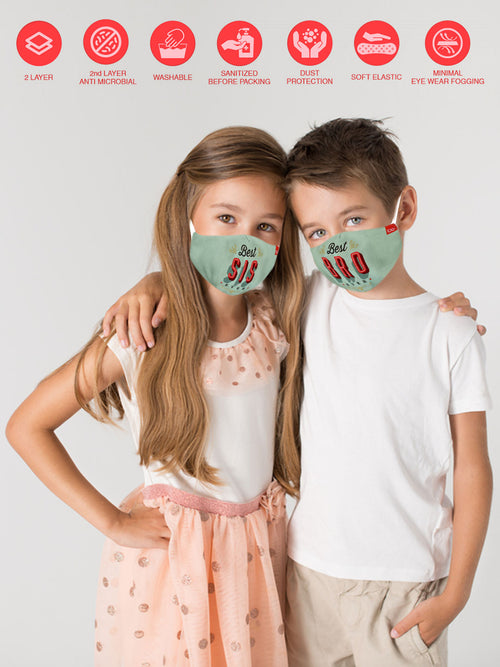 Best Bro & Best Sis Matching Protective Mask For Siblings ( Set Of 2)