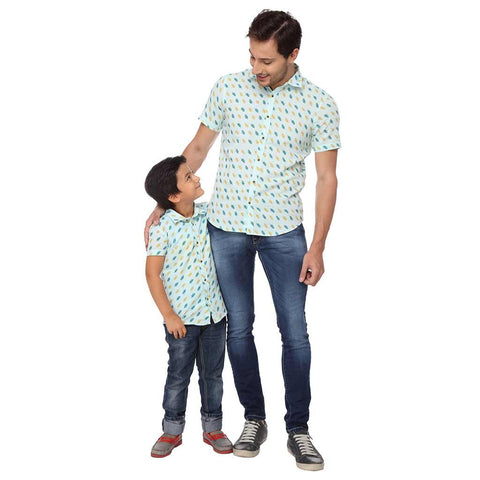 Ice-Cream Print  Pastel Green Half Sleeve Shirt For Father-Son