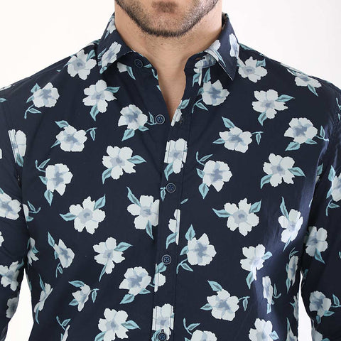 Floral Print Full Sleeves Matching Shirts For Father And Son