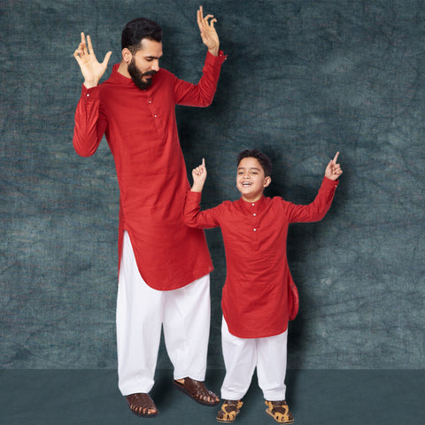 Red kurta white pyjama set for father son