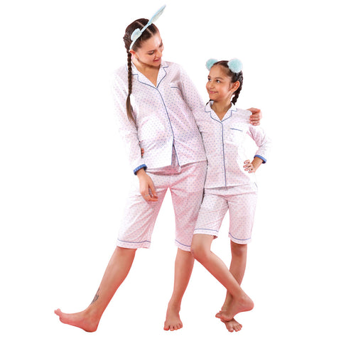 We Love Dotty, Matching Sleep Wear For Mom And Daughter