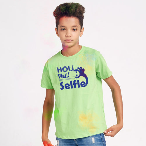 Holi Wali Selfie Family Tees for Son