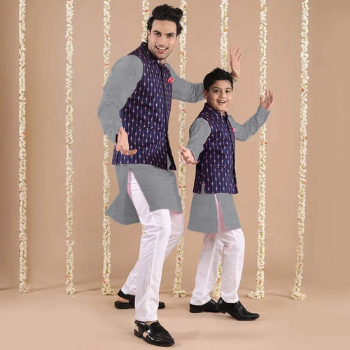 Brown Beads On Blue Bandi With light grey kurta & white Pyjama Set for Father and Son