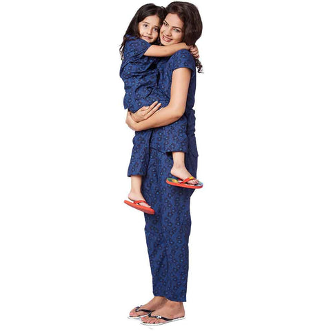 Navy Blue cotton print sleepwear set