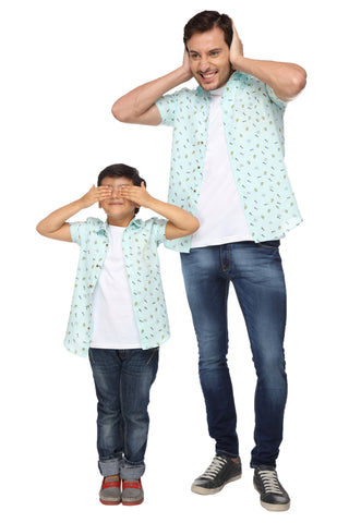 Quirky Print Pastel Green Half Sleeve Shirt For Father-Son