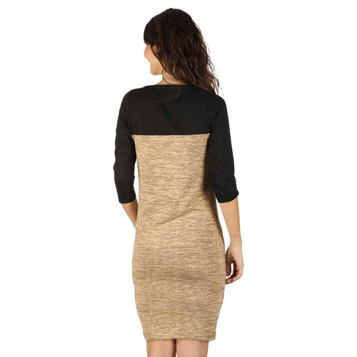 Pastel brown yoke knitted dress for mom daughter