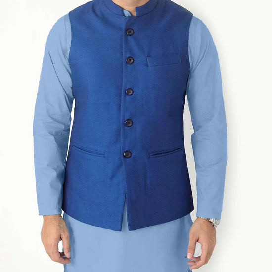 Royal Blue Bandi With Matching Chambray blue kurta/white Pyjama Set For Father-son