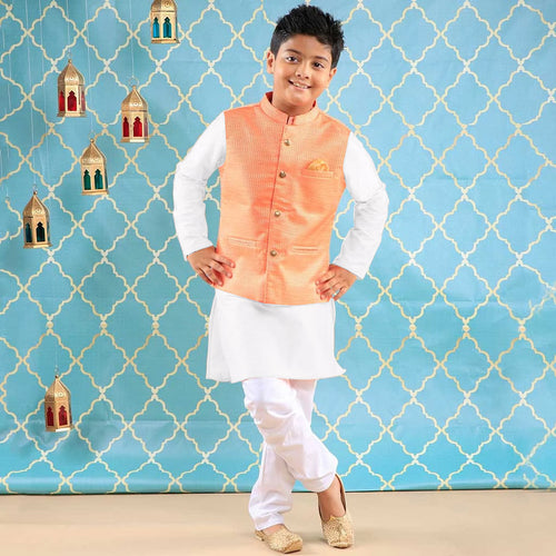 Royal Peach Bandi With White Kurta & Pyjama Set For Father-Son
