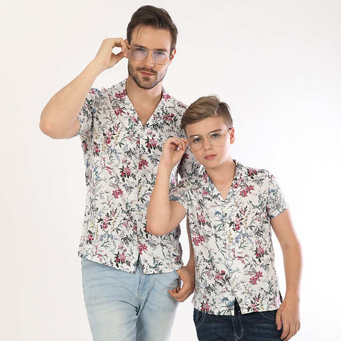 Floral Vibes Half Sleeves Matching Shirts For Dad And Son