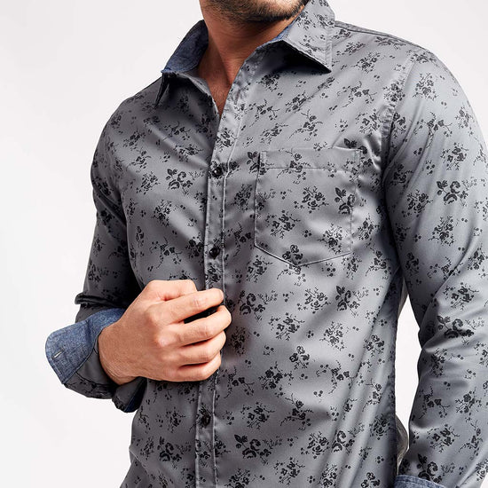 Black Floral On Grey, Matching Shirts For Dad And Son