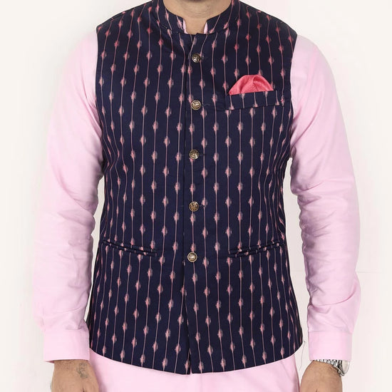 Navy Printed Bandi With Kurta & Pyjama Set For Father And Son