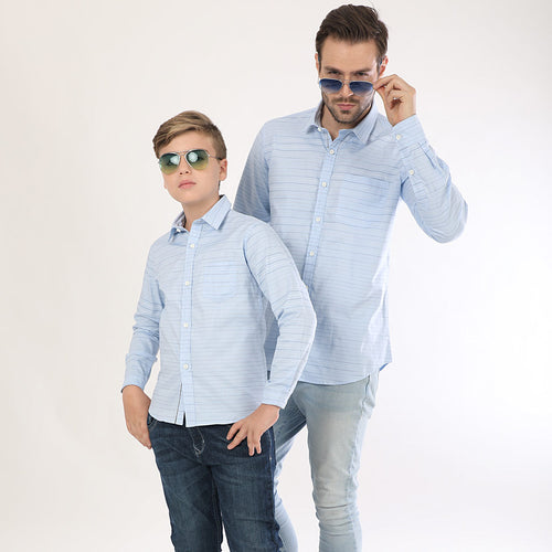 Light Blue Horizontal Stripes Full Sleeves Matching Shirts For Dad And Son