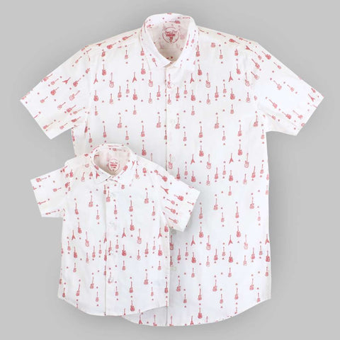 Guitar Print White Half Sleeve Shirt For Father-Son