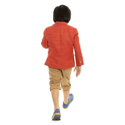 Reddish-Orange single button regular fit blazer for Father-Son