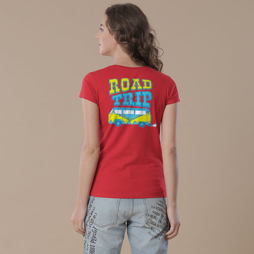 Road Trip, Matching Red Travel Tees For Women
